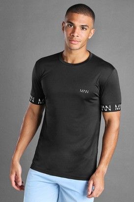 boohoo Mens Black MAN Active Muscle Fit T-Shirt With MAN Cuff Detail, Black