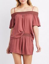 Charlotte Russe Smocked Cold Shoulder Top