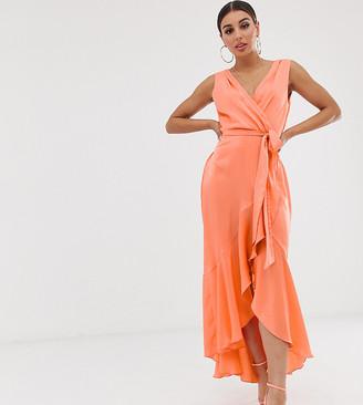 Flounce London wrap front midaxi dress in tangerine-Orange