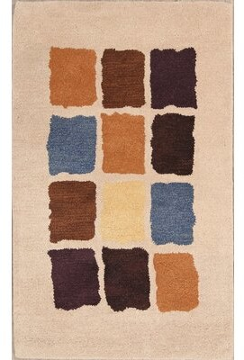 Latitude Run Jaylyn Hand-Tufted Wool Ivory/Brown Area Rug Latitude Run Rug Size: Rectangle 3' x 5'