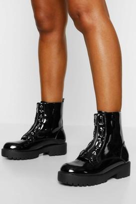 boohoo Wide Fit Zip Front Hiker Boots