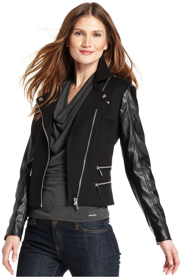 MICHAEL Michael Kors Jacket, Faux-Leather-Sleeve Moto