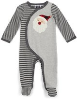 Mud Pie Unisex Baby Sweater Knit Footed Sleeper Santa Applique, 0-3 Months