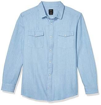 RVCA Men's Telegraph Button-Up Flannel Blue X-Large