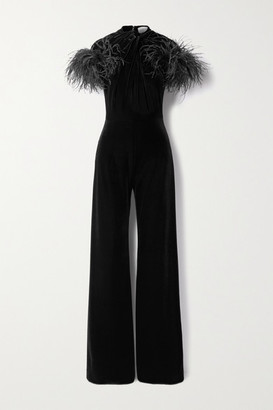 16Arlington Kohana Feather-trimmed Knotted Velvet Jumpsuit - Black