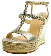 Badgley Mischka Coco Open Toe Leather Wedge Heel.