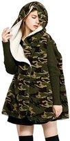 Moonpin Women's Windbreak Camouflage Fleece Hooded Midi Sweater Outwear ????????82???????