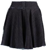 Norma Kamali Wrap-Effect Frayed Denim Mini Skirt