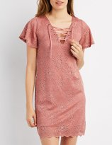 Charlotte Russe Lace Lace-Up Shift Dress