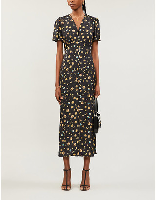NEVER FULLY DRESSED Lindos stars and moon-print satin midi dress
