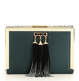 Kate Landry Stone-Inlay Frame Clutch with Ombre Tassels