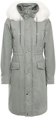 Maje Gisou Faux Fur-trimmed Cotton-twill Coat