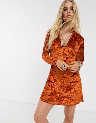 Asos Design DESIGN long sleeve plunge velvet mini dress-Red