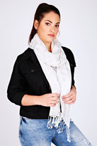 Yours Clothing White & Silver Metallic Thread Striped Oversized Scarf