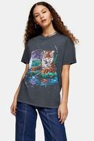 Topshop Womens Charcoal Grey Mystic Tiger T-Shirt - Charcoal