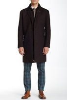 Cole Haan Tumbled Faux Leather Trim Topper Coat