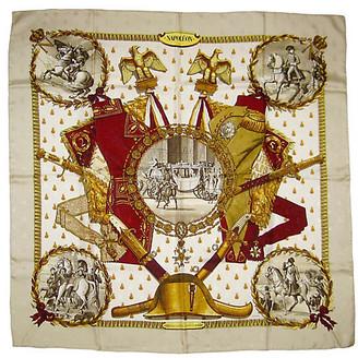 One Kings Lane Vintage Hermes Napoleon Scarf - Original Issue - The Emporium Ltd. - beige/white/burgundy/black/gold/taupe