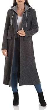 AVEC LES FILLES Wool-Blend Maxi Coat with Knit Hoodie
