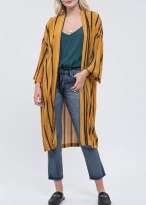 Blu Pepper Stripe Print Long Kimono