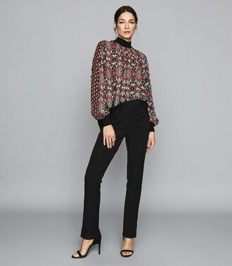 Reiss Maisie - Patchwork Printed Turtle Neck Top in Red