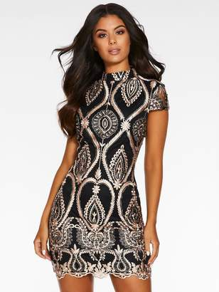 Quiz High Neck Sequin Mini Dress - Black/Rose Gold