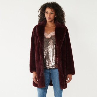 Nine West Women's Long Faux-Fur Jacket