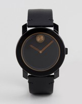 Movado Bold 3600297 Leather Watch In Black