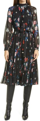 Ted Baker Naniro Floral Pleated Long Sleeve Midi Dress