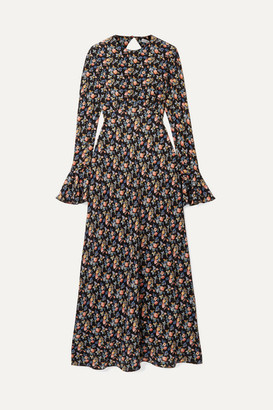 Les Rêveries Open-back Floral-print Silk Crepe De Chine Maxi Dress - Black