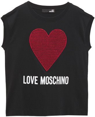 Love Moschino Sequin-embellished Embroidered Logo-print Cotton-jersey T-shirt