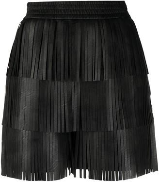Philosophy di Lorenzo Serafini Fringed Faux-Leather Shorts