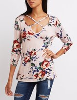 Charlotte Russe Floral Strappy Caged Top
