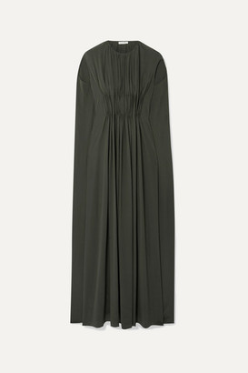 The Row Antonia Cape-effect Embellished Pleated Silk-crepe Gown - Army green