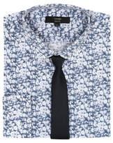 George Blue Slim Fit Floral Long Sleeve Shirt & Tie Set