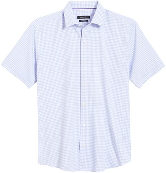 Bugatchi Shaped Fit Check Short Sleeve Button-Up Performance Shirt