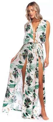 BCBGMAXAZRIA Womens Ring Tropicals Overlap Maxi Dress Multi MD