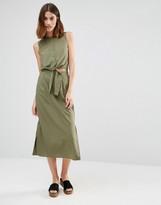 Warehouse Tie Front Midi Dress