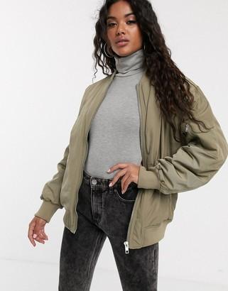ASOS DESIGN oversized bomber jacket in khaki