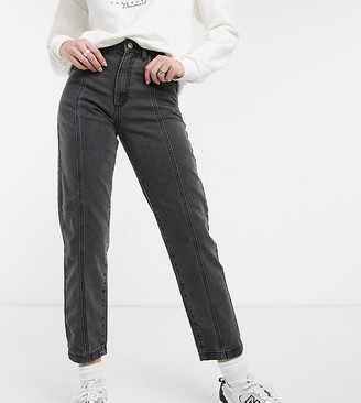 Reclaimed Vintage Inspired The '88 clean straight jeans with seam detail in washed black
