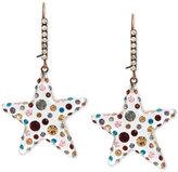 Betsey Johnson Copper-Tone Multi-Crystal Lucite Star Drop Earrings