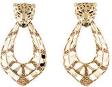 Roberto Cavalli Crystal Leopard Hoop Drop Earrings