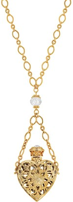 1928 14k Gold-Dipped Crystal Filigree Heart With Glass Vial Necklace