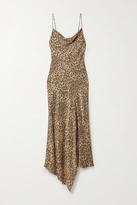 Alice + Olivia Harmony Draped Leopard-print Satin-twill And Voile Dress