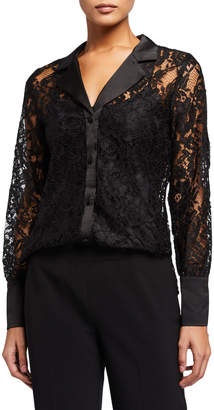 Laundry by Shelli Segal Lace Button-Down Blouse