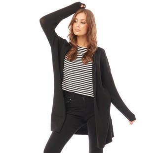 Only Womens Prime Long Sleeve Longline Knit Cardigan Black