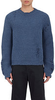 J.W.Anderson Men's Distressed Oversized Sweater-BLUE