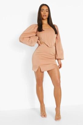 boohoo Matte Satin Split Side Mini Skirt