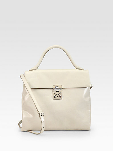 Miu Miu Shiny Vitello Slim Flap Top Handle Bag