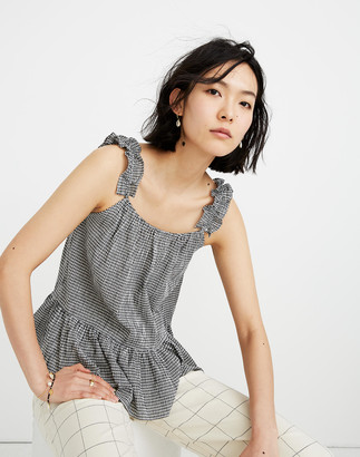 Madewell Ruffle-Strap Cami Top in Gingham