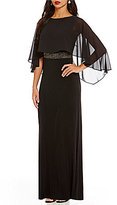 Sangria Crepe Sheer Overlay Sleeveless Embellished Waist Gown